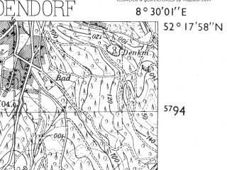 Reduced fragment of topographic map de--mb--025k--37_016-ams--(1955)--N052-18_E008-20--N052-12_E008-30; towns and cities Melle