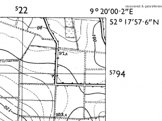 Reduced fragment of topographic map de--mb--025k--37_021-ams--(1955)--N052-18_E009-10--N052-12_E009-20