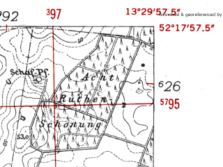 Reduced fragment of topographic map de--mb--025k--37_046-ams--(1952)--N052-18_E013-20--N052-12_E013-30; towns and cities Zossen