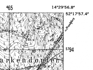 Reduced fragment of topographic map de--mb--025k--37_052-ams--(1952)--N052-18_E014-20--N052-12_E014-30