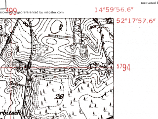 Reduced fragment of topographic map de--mb--025k--37_055-ams--(1952)--N052-18_E014-50--N052-12_E015-00