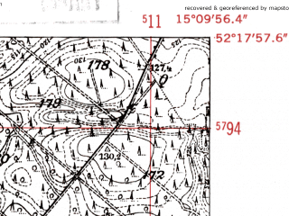 Reduced fragment of topographic map de--mb--025k--37_056-ams--(1952)--N052-18_E015-00--N052-12_E015-10