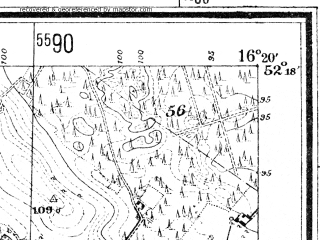 Reduced fragment of topographic map de--mb--025k--37_063--(1940)--N052-18_E016-10--N052-12_E016-20