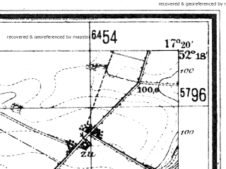 Reduced fragment of topographic map de--mb--025k--37_069--(1944)--N052-18_E017-10--N052-12_E017-20; towns and cities Sroda Wielkopolska