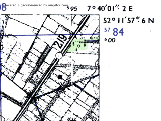 Reduced fragment of topographic map de--mb--025k--38_011-ams--(1955)--N052-12_E007-30--N052-06_E007-40; towns and cities Emsdetten