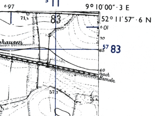 Reduced fragment of topographic map de--mb--025k--38_020-ams--(1955)--N052-12_E009-00--N052-06_E009-10