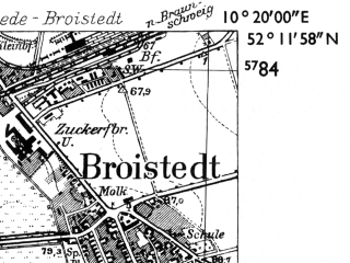 Reduced fragment of topographic map de--mb--025k--38_027-ams--(1955)--N052-12_E010-10--N052-06_E010-20; towns and cities Salzgitter