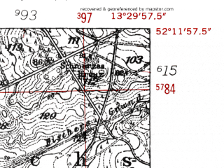 Reduced fragment of topographic map de--mb--025k--38_046-ams--(1952)--N052-12_E013-20--N052-06_E013-30