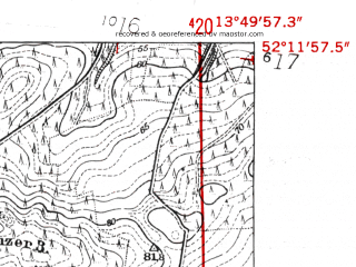 Reduced fragment of topographic map de--mb--025k--38_048-ams--(1952)--N052-12_E013-40--N052-06_E013-50