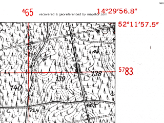 Reduced fragment of topographic map de--mb--025k--38_052-ams--(1952)--N052-12_E014-20--N052-06_E014-30