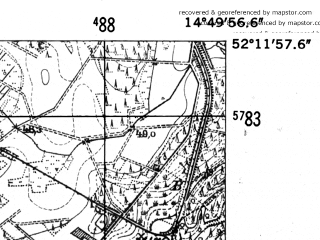 Reduced fragment of topographic map de--mb--025k--38_054-ams--(1952)--N052-12_E014-40--N052-06_E014-50; towns and cities Cybinka