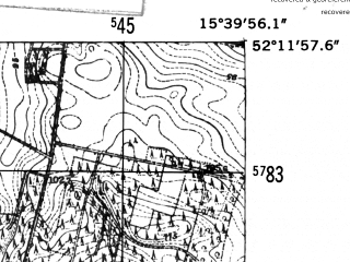 Reduced fragment of topographic map de--mb--025k--38_059-ams--(1952)--N052-12_E015-30--N052-06_E015-40