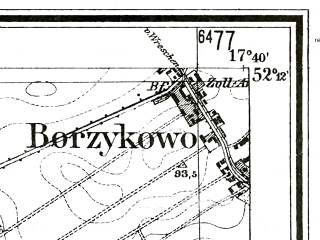 Reduced fragment of topographic map de--mb--025k--38_071--(1940)--N052-12_E017-30--N052-06_E017-40; towns and cities Komorze
