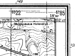 Reduced fragment of topographic map de--mb--025k--38_075--(1944)--N052-12_E018-10--N052-06_E018-20