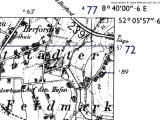 Reduced fragment of topographic map de--mb--025k--39_017-ams--(1955)--N052-06_E008-30--N052-00_E008-40; towns and cities Bielefeld