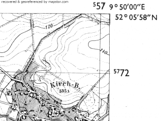 Reduced fragment of topographic map de--mb--025k--39_024-ams--(1955)--N052-06_E009-40--N052-00_E009-50