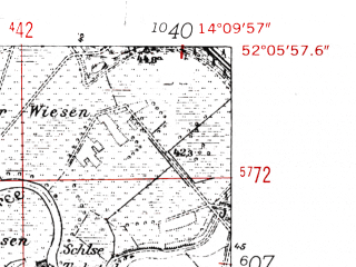 Reduced fragment of topographic map de--mb--025k--39_050-ams--(1952)--N052-06_E014-00--N052-00_E014-10