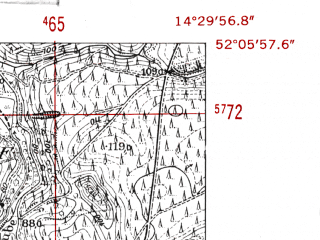 Reduced fragment of topographic map de--mb--025k--39_052-ams--(1952)--N052-06_E014-20--N052-00_E014-30