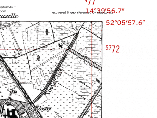 Reduced fragment of topographic map de--mb--025k--39_053-ams--(1952)--N052-06_E014-30--N052-00_E014-40