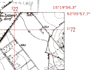 Reduced fragment of topographic map de--mb--025k--39_057-ams--(1952)--N052-06_E015-10--N052-00_E015-20