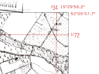 Reduced fragment of topographic map de--mb--025k--39_058-ams--(1952)--N052-06_E015-20--N052-00_E015-30; towns and cities Czerwiensk