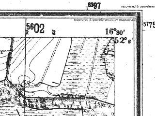 Reduced fragment of topographic map de--mb--025k--39_064--(1944)--N052-06_E016-20--N052-00_E016-30