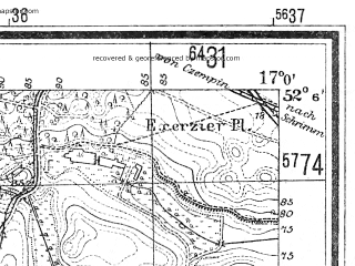 Reduced fragment of topographic map de--mb--025k--39_067--(1940)--N052-06_E016-50--N052-00_E017-00