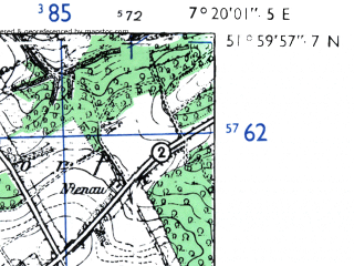 Reduced fragment of topographic map de--mb--025k--40_009-ams--(1955)--N052-00_E007-10--N051-54_E007-20