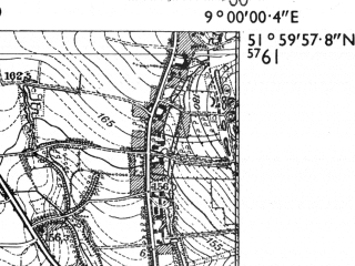 Reduced fragment of topographic map de--mb--025k--40_019-ams--(1955)--N052-00_E008-50--N051-54_E009-00; towns and cities Detmold
