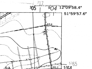 Reduced fragment of topographic map de--mb--025k--40_038-ams--(1952)--N052-00_E012-00--N051-54_E012-10; towns and cities Zerbst