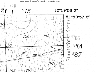 Reduced fragment of topographic map de--mb--025k--40_039-ams--(1952)--N052-00_E012-10--N051-54_E012-20