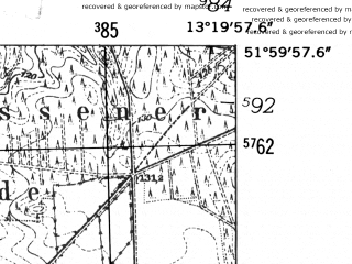 Reduced fragment of topographic map de--mb--025k--40_045-ams--(1952)--N052-00_E013-10--N051-54_E013-20