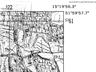 Reduced fragment of topographic map de--mb--025k--40_057-ams--(1952)--N052-00_E015-10--N051-54_E015-20
