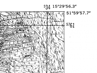 Reduced fragment of topographic map de--mb--025k--40_058-ams--(1952)--N052-00_E015-20--N051-54_E015-30