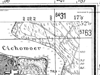 Reduced fragment of topographic map de--mb--025k--40_067--(1940)--N052-00_E016-50--N051-54_E017-00