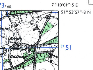 Reduced fragment of topographic map de--mb--025k--41_008-ams--(1955)--N051-54_E007-00--N051-48_E007-10