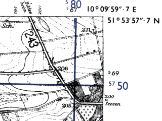 Reduced fragment of topographic map de--mb--025k--41_026-ams--(1955)--N051-54_E010-00--N051-48_E010-10