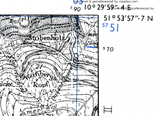 Reduced fragment of topographic map de--mb--025k--41_028-ams--(1955)--N051-54_E010-20--N051-48_E010-30 in area of Okerstausee