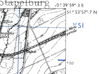 Reduced fragment of topographic map de--mb--025k--41_029-ams--(1955)--N051-54_E010-30--N051-48_E010-40; towns and cities Bad Harzburg