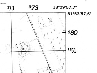 Reduced fragment of topographic map de--mb--025k--41_044-ams--(1952)--N051-54_E013-00--N051-48_E013-10
