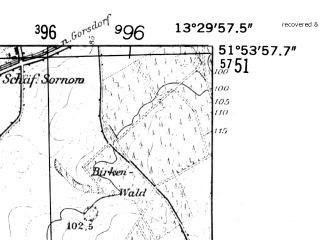 Reduced fragment of topographic map de--mb--025k--41_046-ams--(1952)--N051-54_E013-20--N051-48_E013-30