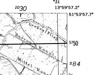 Reduced fragment of topographic map de--mb--025k--41_049-ams--(1952)--N051-54_E013-50--N051-48_E014-00