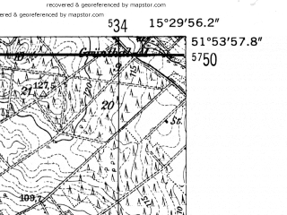 Reduced fragment of topographic map de--mb--025k--41_058-ams--(1952)--N051-54_E015-20--N051-48_E015-30