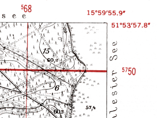 Reduced fragment of topographic map de--mb--025k--41_061-ams--(1952)--N051-54_E015-50--N051-48_E016-00