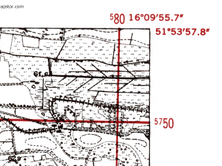 Reduced fragment of topographic map de--mb--025k--41_062-ams--(1952)--N051-54_E016-00--N051-48_E016-10; towns and cities Slawa