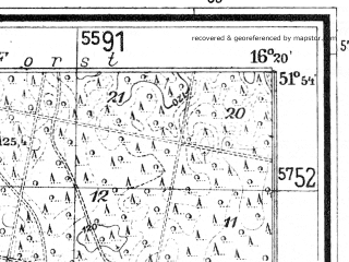 Reduced fragment of topographic map de--mb--025k--41_063--(1940)--N051-54_E016-10--N051-48_E016-20