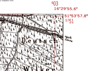 Reduced fragment of topographic map de--mb--025k--41_064-ams--(1952)--N051-54_E016-20--N051-48_E016-30