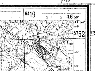 Reduced fragment of topographic map de--mb--025k--41_066--(1940)--N051-54_E016-40--N051-48_E016-50