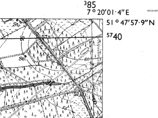 Reduced fragment of topographic map de--mb--025k--42_009-ams--(1955)--N051-48_E007-10--N051-42_E007-20; towns and cities Haltern