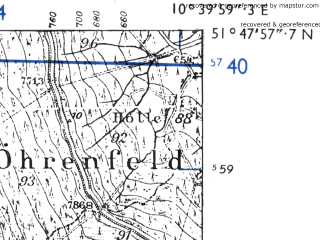 Reduced fragment of topographic map de--mb--025k--42_029-ams--(1955)--N051-48_E010-30--N051-42_E010-40